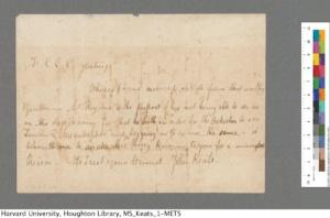 John Keats Collection, 1814-1891 (MS Keats 1.2.1). Houghton Library, Harvard University.