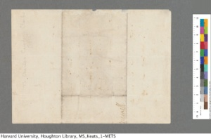 John Keats Collection, 1814-1891 (MS Keats 1.2.1). Houghton Library, Harvard University.