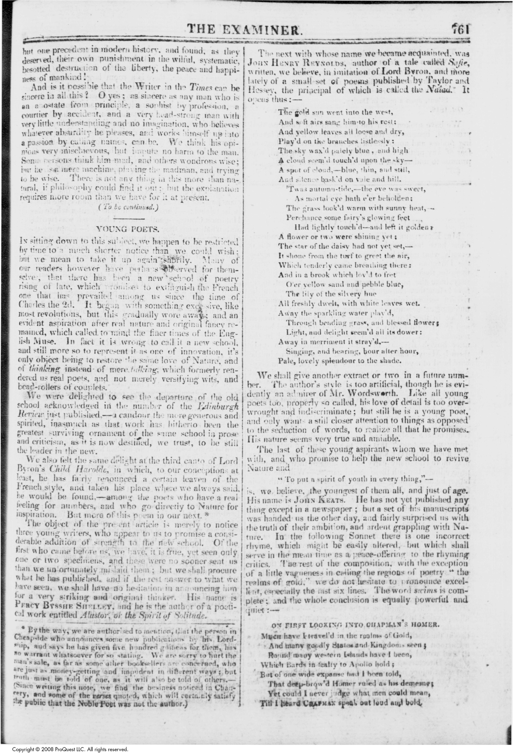 "leigh hunt s young poets essay dec the keats letters  page 1 of ""young poets "" by leigh hunt from the examiner 1 dec 1816 courtesy british periodicals database click image for full size"