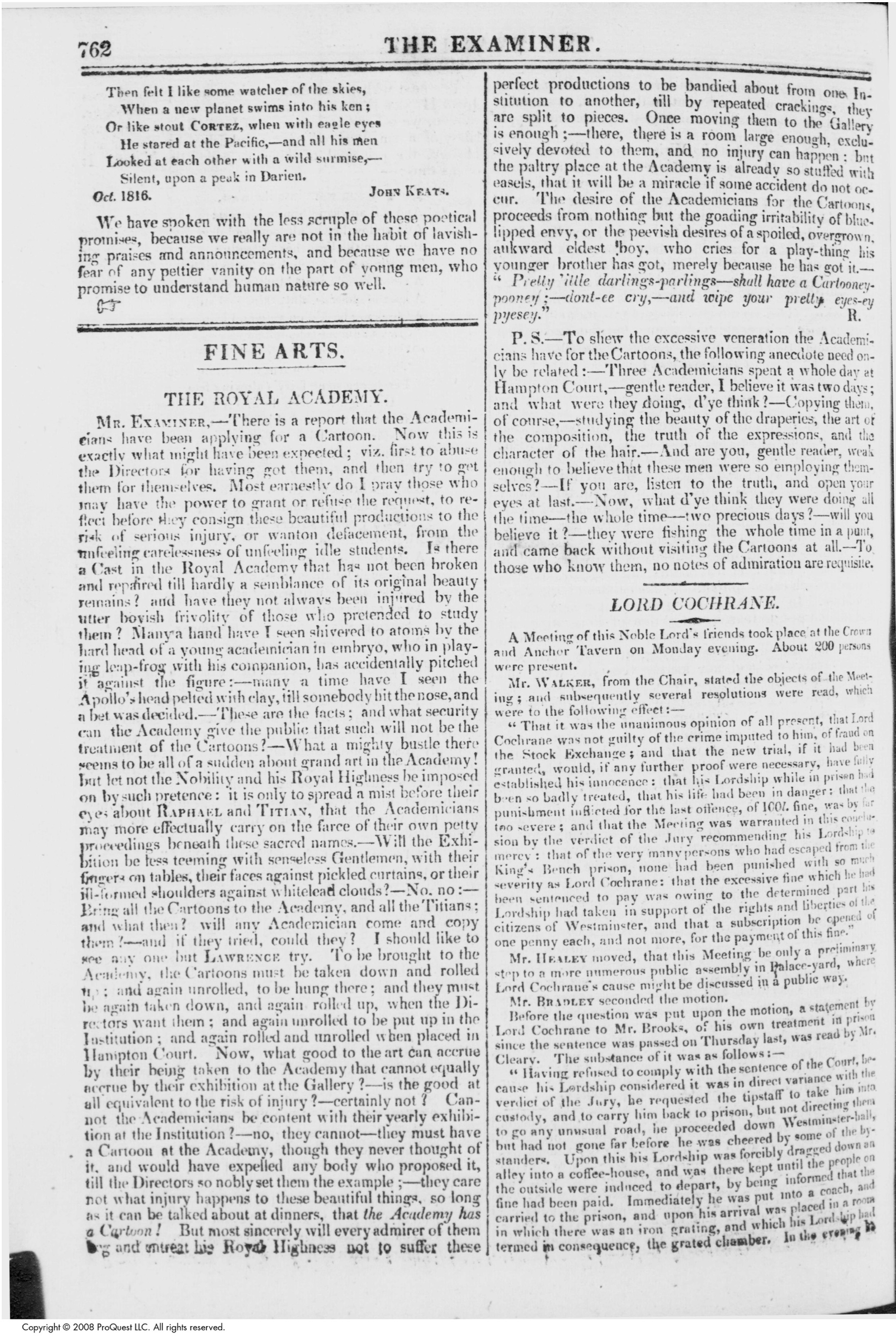 "leigh hunt s young poets essay dec the keats letters  page 2 of ""young poets "" by leigh hunt from the examiner 1 dec 1816 courtesy british periodicals database click image for full size"