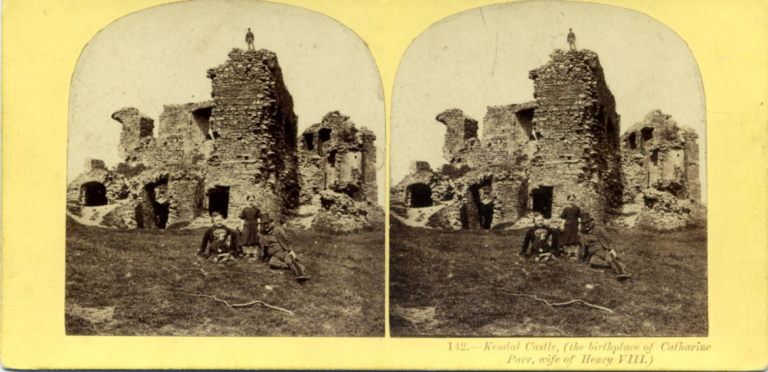 Stereograph by Alfred Pettitt, showing ruins of Kendal Castle (the birthplace of Catharine Parr, wife of Henry VIII).