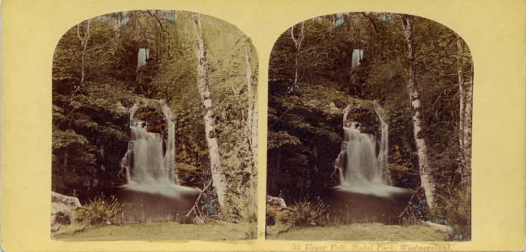 Stereograph by Thomas Ogle and Thomas edge, showing the Upper Fall in Rydal Park.