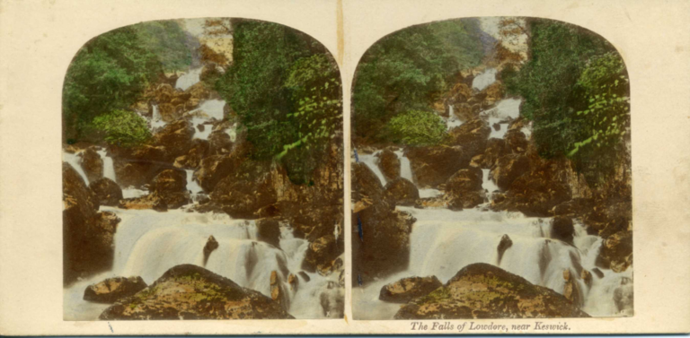 Stereograph by Thomas Ogle and Thomas Edge, showing the Falls of Lodore, near Keswick.