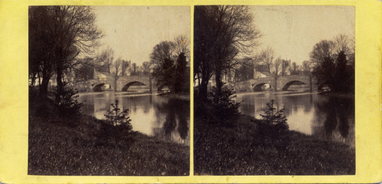 Stereograph by Thomas Ogle, showing Nether Bridge and the Parish Church, Kendal.