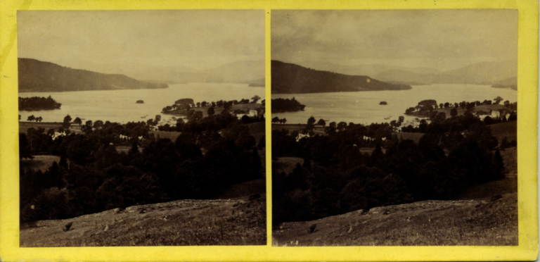 Stereograph by Thomas Ogle, showing the view of Lake Windermere, from above the town of Bowness.