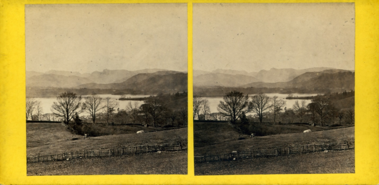 Anonymous stereography showing the view of Lake Windermere and the Langdale Valley from above Low Wood