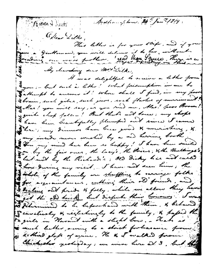 Image of the first page of the manuscript of Brown and Keats's letter to Charles and Maria Dilke, 24 January 1819.
