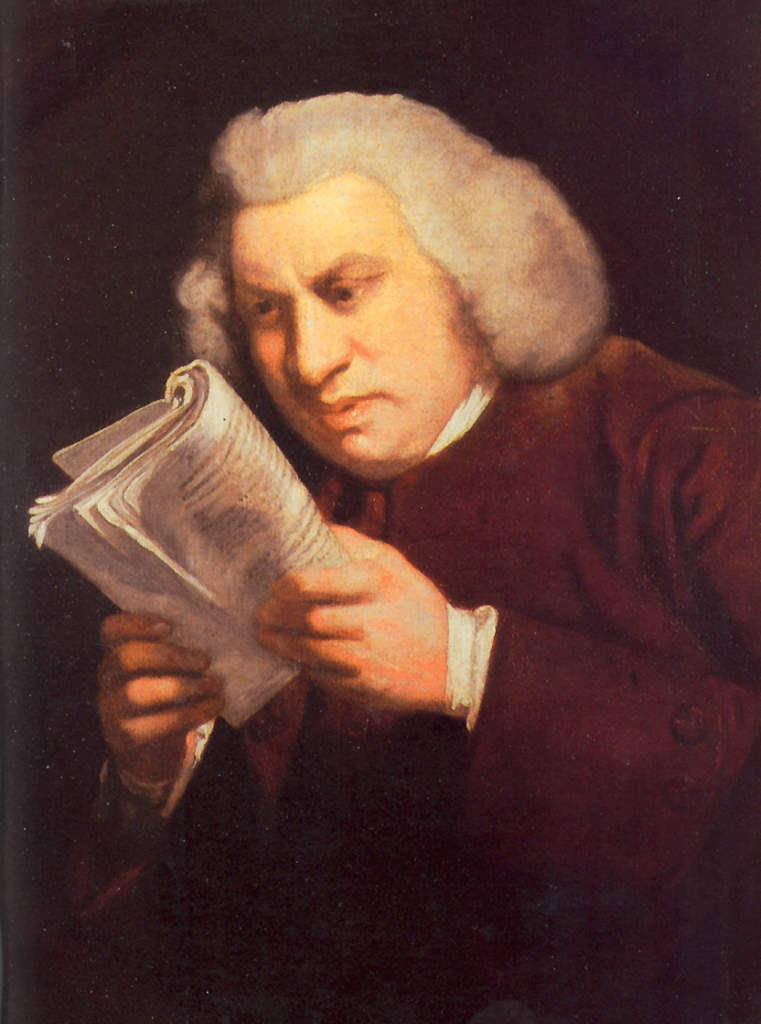 Painting of Samuel Johnson reading a book.