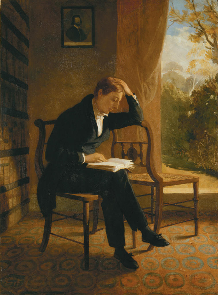 Painting of Keats, sitting cross-legged in a chair, reading a book.